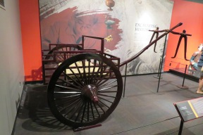 This is a reconstruction of a chariot drawn by two horses.