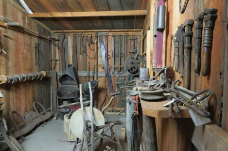 The blacksmith and carpentry shop where horses and their equipment were maintained, fixed or built.