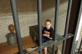 Children love to 'go to jail' in the replica sheriff's office complete with toilet. My nephew Reid has the perfect facial expressions for this place.