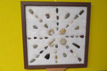 There are several large collections of projectile points in different exhibits throughout the museum. They understand that there is no provenience for any of them but the donors took the time arrange and display them. The museum displays the arranged cases as part of the donor's collection.