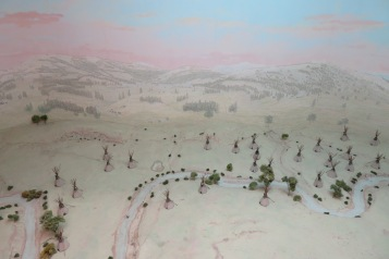 There are several of these scale models of significant places or events in local history. This is of Chief Lame Deer's Camp as it looked when General Nelson Miles destroyed it in 1877.