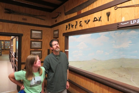 My cousin and his eldest (Lauren) posing near another ranch diorama. He works on the old Fort Keough Property and graciously gave us a fabulous tour.